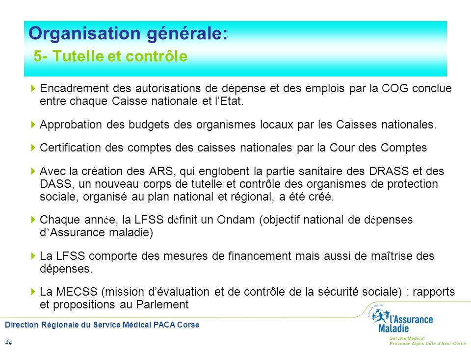 Direction Régionale du Service Médical PACA Corse 44 Organisation générale: 5- Tutelle et contrôle Encadrement des autorisations de dépense et des emp
