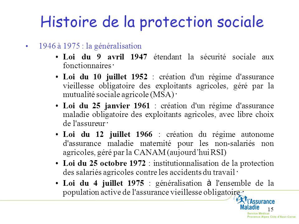 15 Histoire de la protection sociale 1946 à 1975 : la généralisation Loi du 9 avril 1947 étendant la sécurité sociale aux fonctionnaires Loi du 10 jui