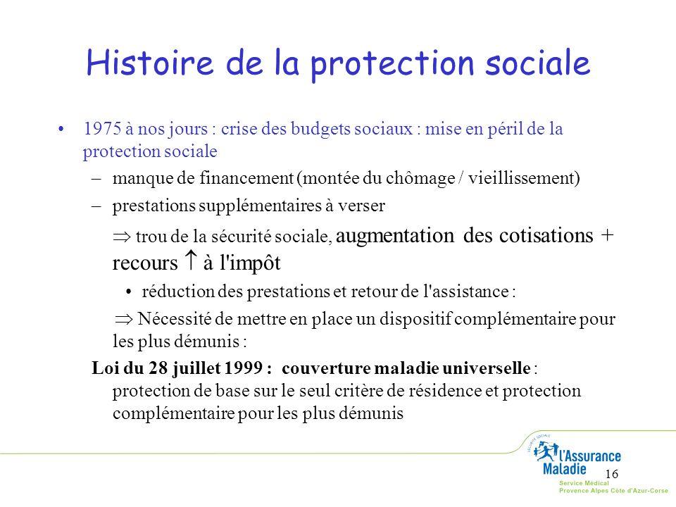 16 1975 à nos jours : crise des budgets sociaux : mise en péril de la protection sociale –manque de financement (montée du chômage / vieillissement) –