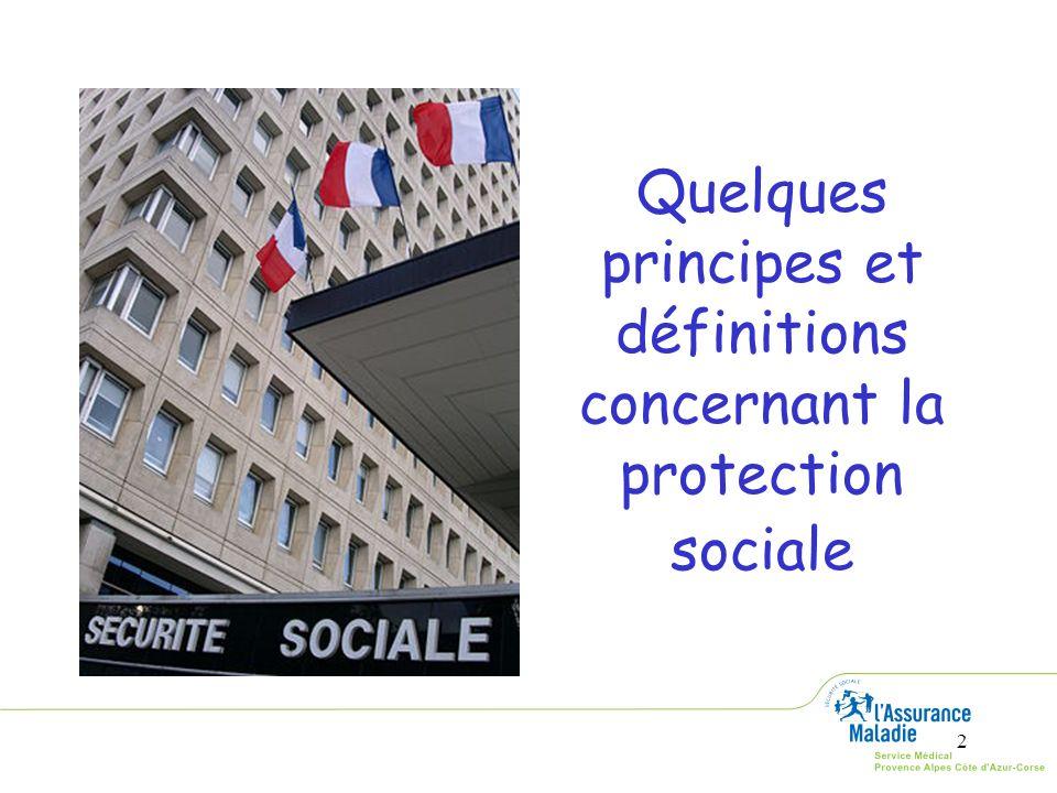 3 Définition, principe et objectifs Définition La protection sociale est lensemble des moyens mis en œuvre par une collectivité pour protéger ses membres contre un certain nombre de risques de l existence (risques sociaux).