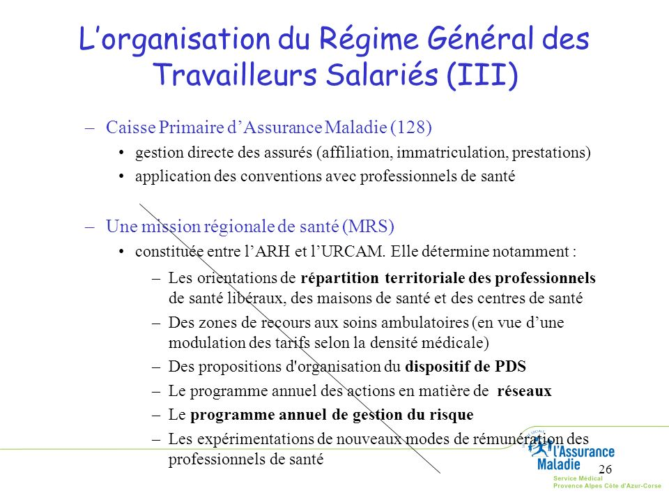 26 Lorganisation du Régime Général des Travailleurs Salariés (III) –Caisse Primaire dAssurance Maladie (128) gestion directe des assurés (affiliation,