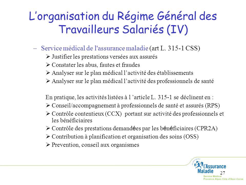 27 Lorganisation du Régime Général des Travailleurs Salariés (IV) –Service médical de l'assurance maladie (art L. 315-1 CSS) Justifier les prestations