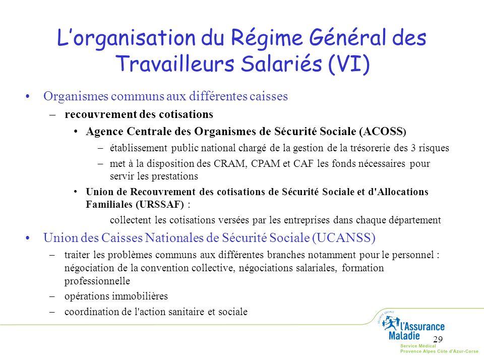 29 Lorganisation du Régime Général des Travailleurs Salariés (VI) Organismes communs aux différentes caisses –recouvrement des cotisations Agence Cent