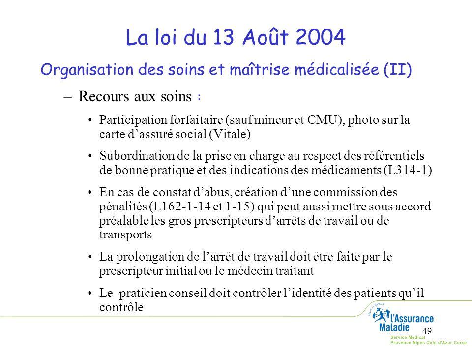 49 La loi du 13 Août 2004 Organisation des soins et maîtrise médicalisée (II) –Recours aux soins : Participation forfaitaire (sauf mineur et CMU), pho