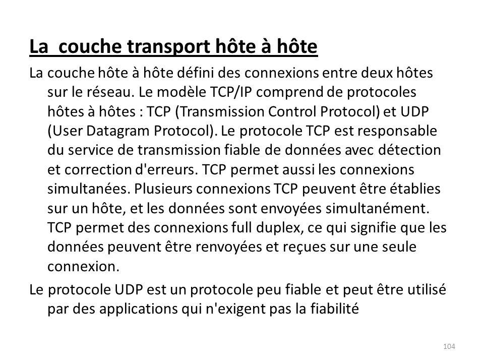 La couche transport hôte à hôte La couche hôte à hôte défini des connexions entre deux hôtes sur le réseau. Le modèle TCP/IP comprend de protocoles hô