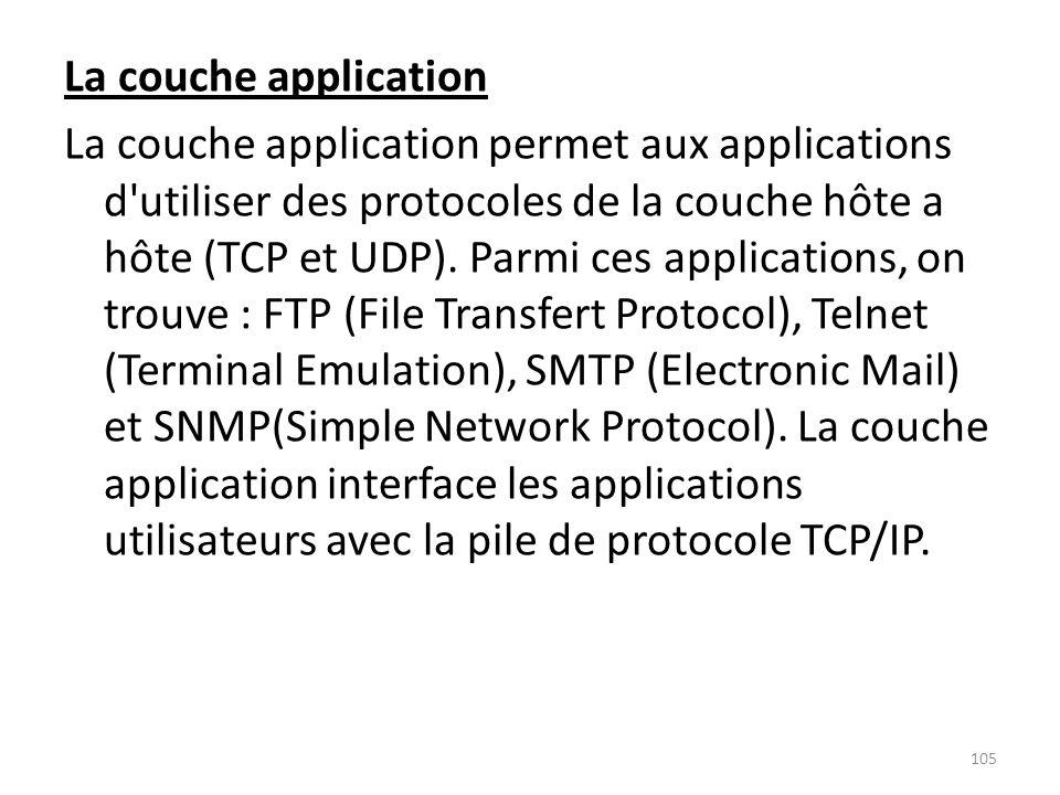 La couche application La couche application permet aux applications d'utiliser des protocoles de la couche hôte a hôte (TCP et UDP). Parmi ces applica