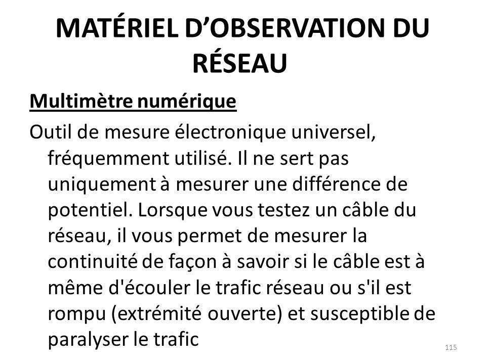 MATÉRIEL DOBSERVATION DU RÉSEAU Multimètre numérique Outil de mesure électronique universel, fréquemment utilisé. Il ne sert pas uniquement à mesurer