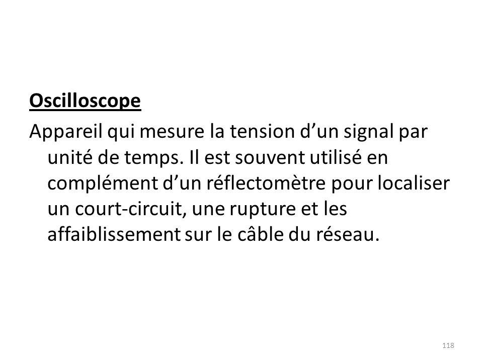 Oscilloscope Appareil qui mesure la tension dun signal par unité de temps. Il est souvent utilisé en complément dun réflectomètre pour localiser un co