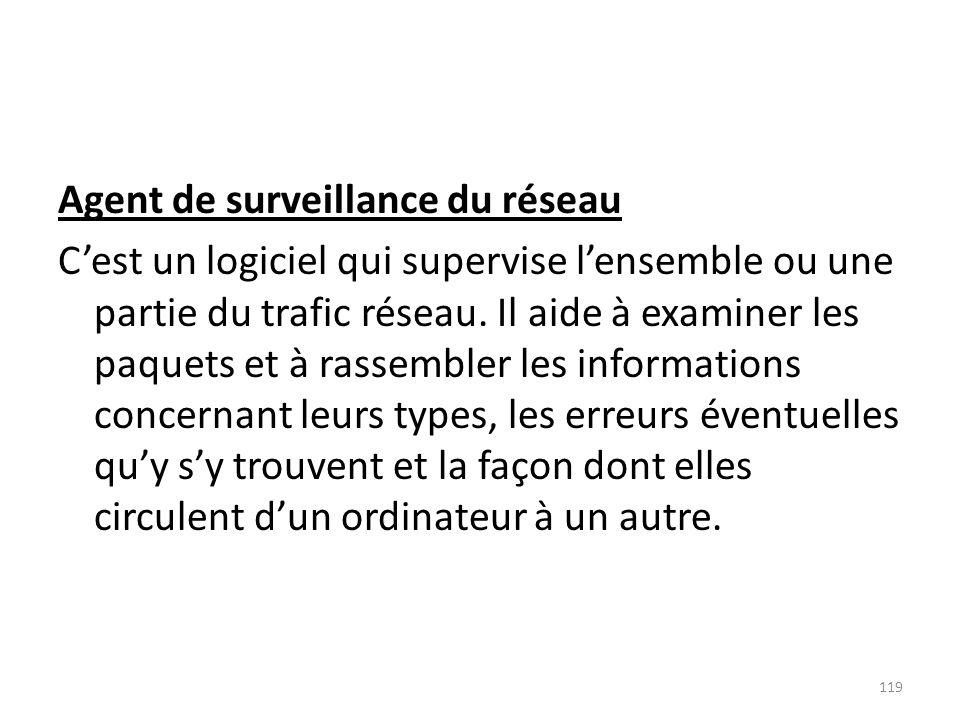 Agent de surveillance du réseau Cest un logiciel qui supervise lensemble ou une partie du trafic réseau. Il aide à examiner les paquets et à rassemble