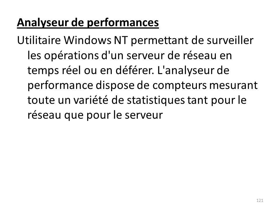 Analyseur de performances Utilitaire Windows NT permettant de surveiller les opérations d'un serveur de réseau en temps réel ou en déférer. L'analyseu