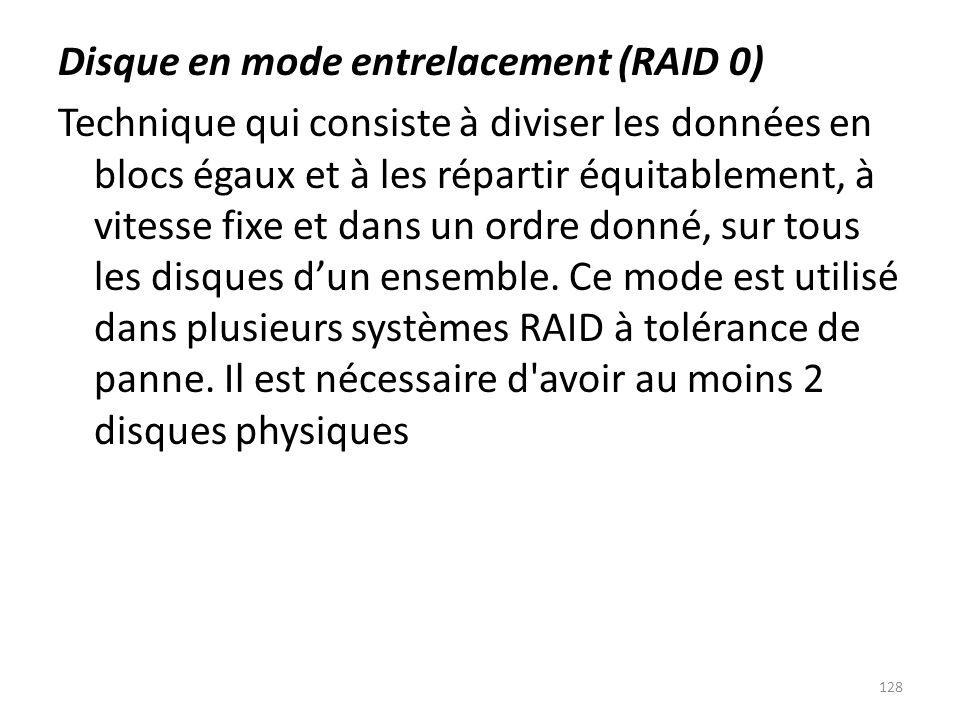 Disque en mode entrelacement (RAID 0) Technique qui consiste à diviser les données en blocs égaux et à les répartir équitablement, à vitesse fixe et d