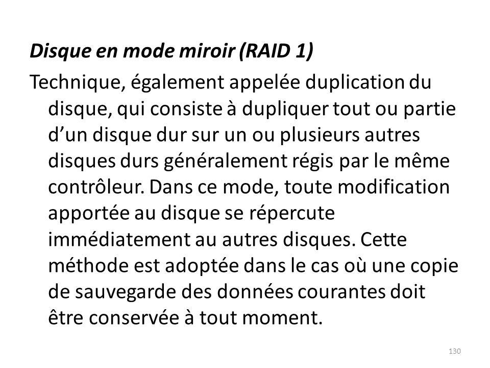 Disque en mode miroir (RAID 1) Technique, également appelée duplication du disque, qui consiste à dupliquer tout ou partie dun disque dur sur un ou pl