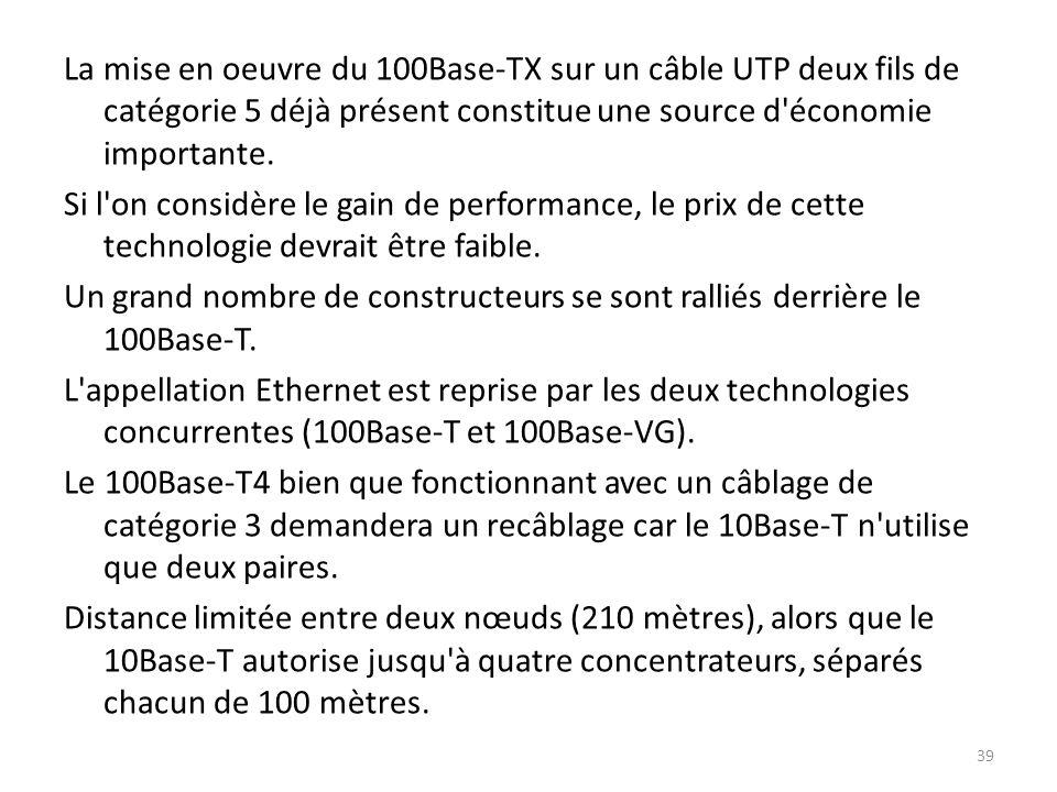 La mise en oeuvre du 100Base-TX sur un câble UTP deux fils de catégorie 5 déjà présent constitue une source d'économie importante. Si l'on considère l
