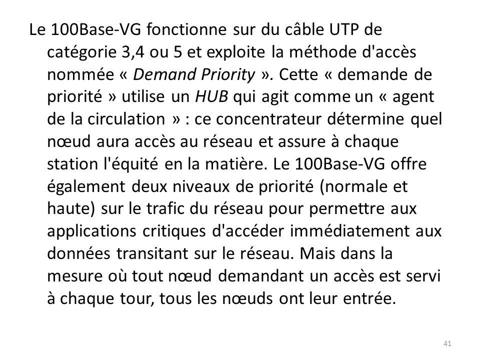 Le 100Base-VG fonctionne sur du câble UTP de catégorie 3,4 ou 5 et exploite la méthode d'accès nommée « Demand Priority ». Cette « demande de priorité