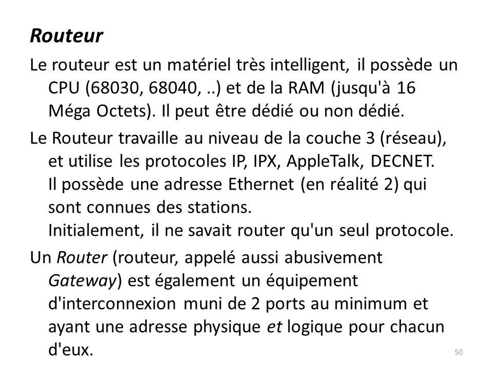Routeur Le routeur est un matériel très intelligent, il possède un CPU (68030, 68040,..) et de la RAM (jusqu'à 16 Méga Octets). Il peut être dédié ou