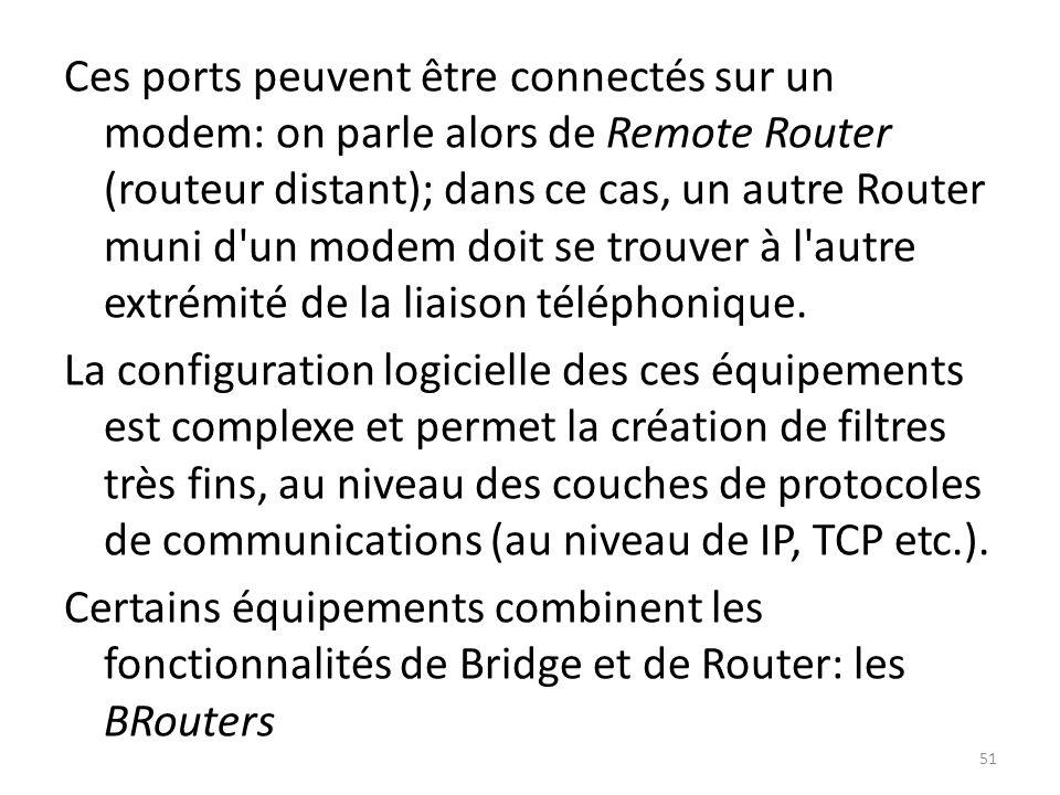 Ces ports peuvent être connectés sur un modem: on parle alors de Remote Router (routeur distant); dans ce cas, un autre Router muni d'un modem doit se