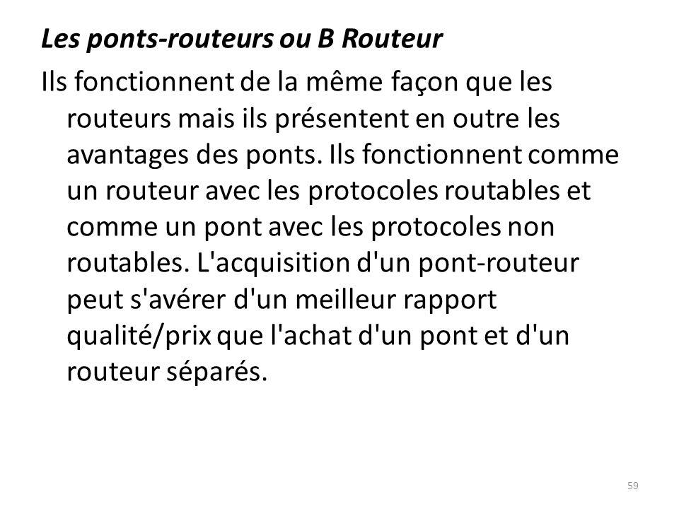 Les ponts-routeurs ou B Routeur Ils fonctionnent de la même façon que les routeurs mais ils présentent en outre les avantages des ponts. Ils fonctionn