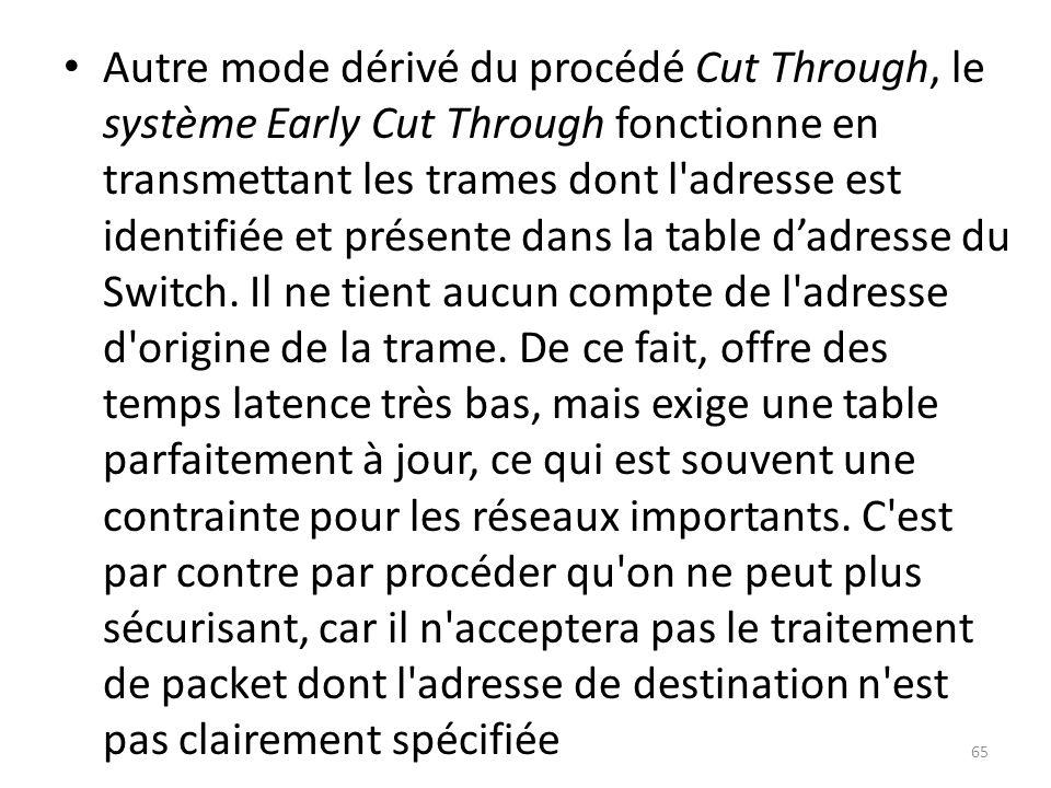 Autre mode dérivé du procédé Cut Through, le système Early Cut Through fonctionne en transmettant les trames dont l'adresse est identifiée et présente