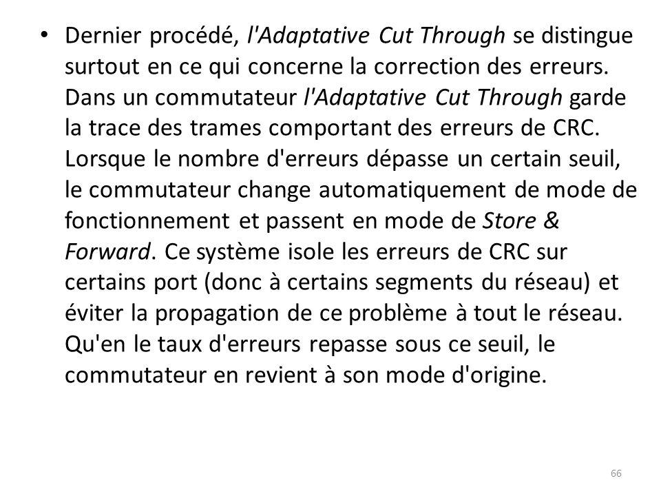 Dernier procédé, l'Adaptative Cut Through se distingue surtout en ce qui concerne la correction des erreurs. Dans un commutateur l'Adaptative Cut Thro