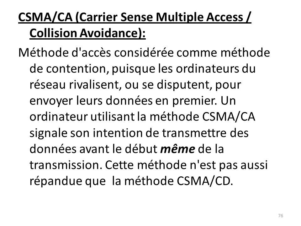 CSMA/CA (Carrier Sense Multiple Access / Collision Avoidance): Méthode d'accès considérée comme méthode de contention, puisque les ordinateurs du rése
