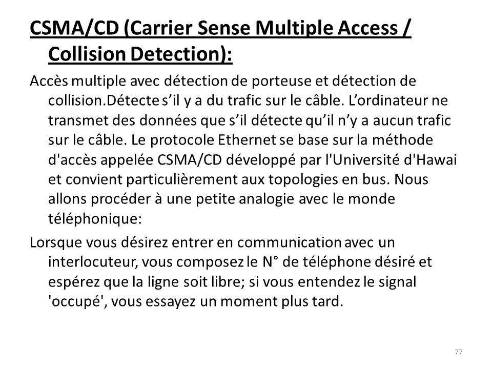 CSMA/CD (Carrier Sense Multiple Access / Collision Detection): Accès multiple avec détection de porteuse et détection de collision.Détecte sil y a du