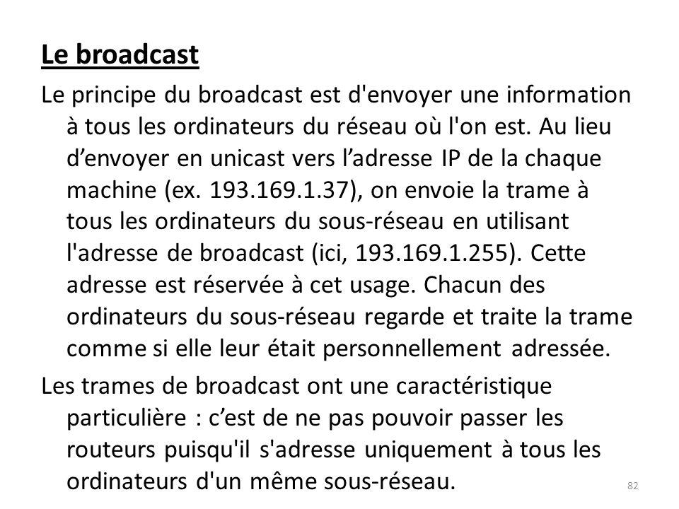 Le broadcast Le principe du broadcast est d'envoyer une information à tous les ordinateurs du réseau où l'on est. Au lieu denvoyer en unicast vers lad