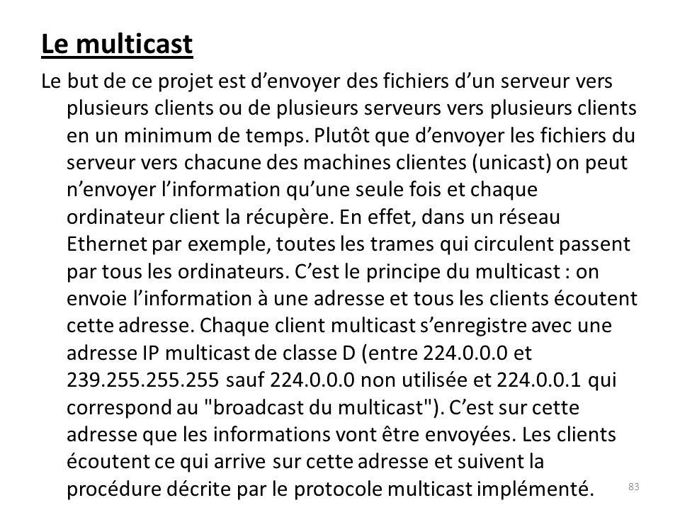 Le multicast Le but de ce projet est denvoyer des fichiers dun serveur vers plusieurs clients ou de plusieurs serveurs vers plusieurs clients en un mi
