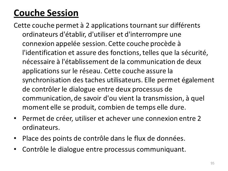 Couche Session Cette couche permet à 2 applications tournant sur différents ordinateurs d'établir, d'utiliser et d'interrompre une connexion appelée s