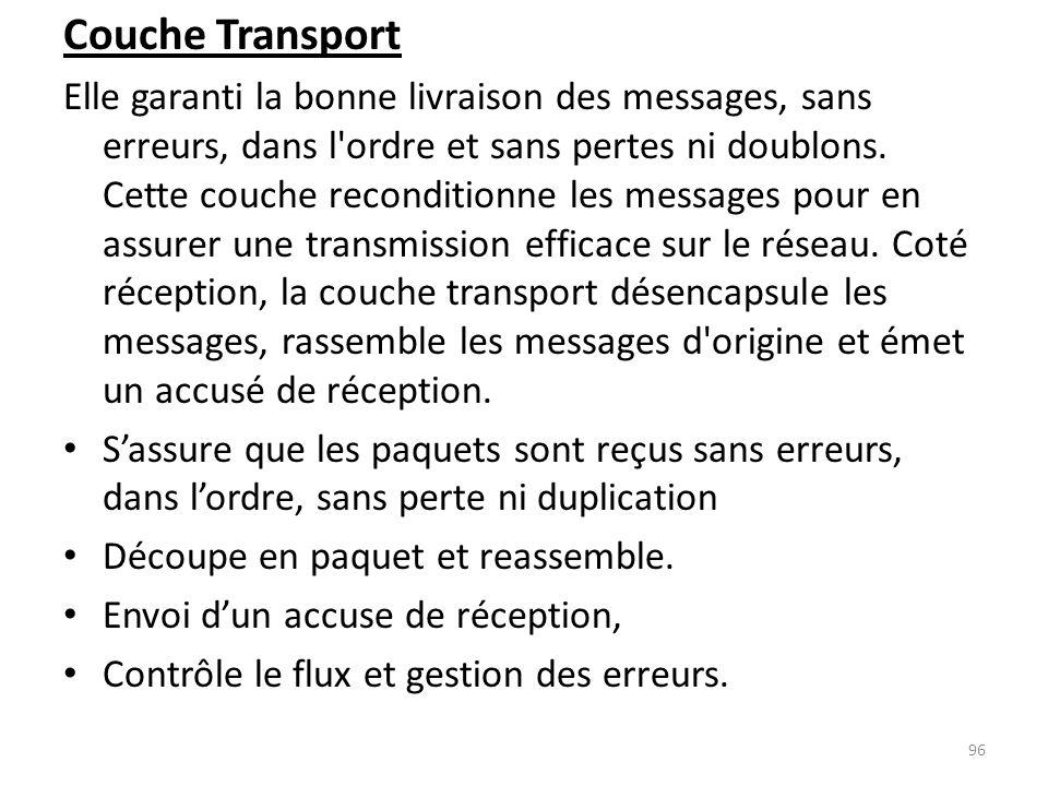 Couche Transport Elle garanti la bonne livraison des messages, sans erreurs, dans l'ordre et sans pertes ni doublons. Cette couche reconditionne les m