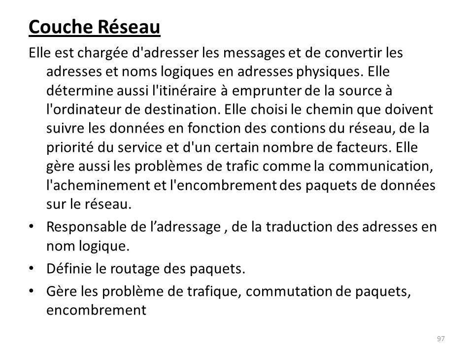 Couche Réseau Elle est chargée d'adresser les messages et de convertir les adresses et noms logiques en adresses physiques. Elle détermine aussi l'iti