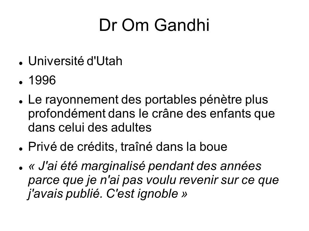 Dr Om Gandhi Université d'Utah 1996 Le rayonnement des portables pénètre plus profondément dans le crâne des enfants que dans celui des adultes Privé