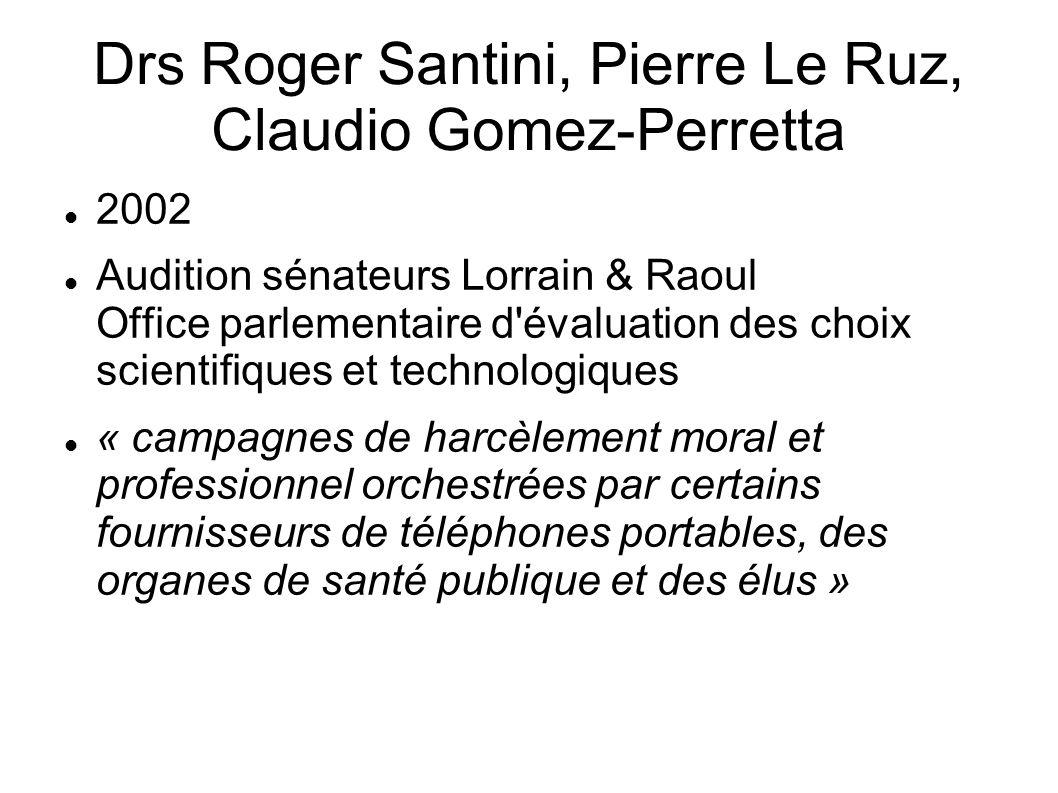 Drs Roger Santini, Pierre Le Ruz, Claudio Gomez-Perretta 2002 Audition sénateurs Lorrain & Raoul Office parlementaire d'évaluation des choix scientifi