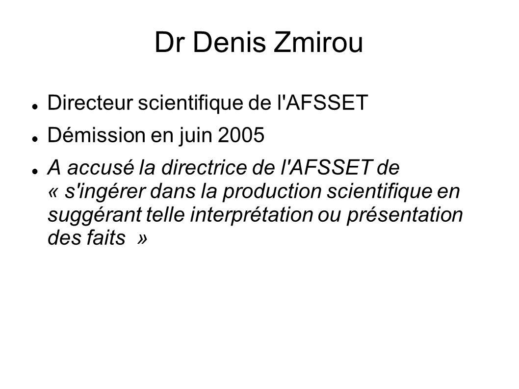 Dr Denis Zmirou Directeur scientifique de l'AFSSET Démission en juin 2005 A accusé la directrice de l'AFSSET de « s'ingérer dans la production scienti