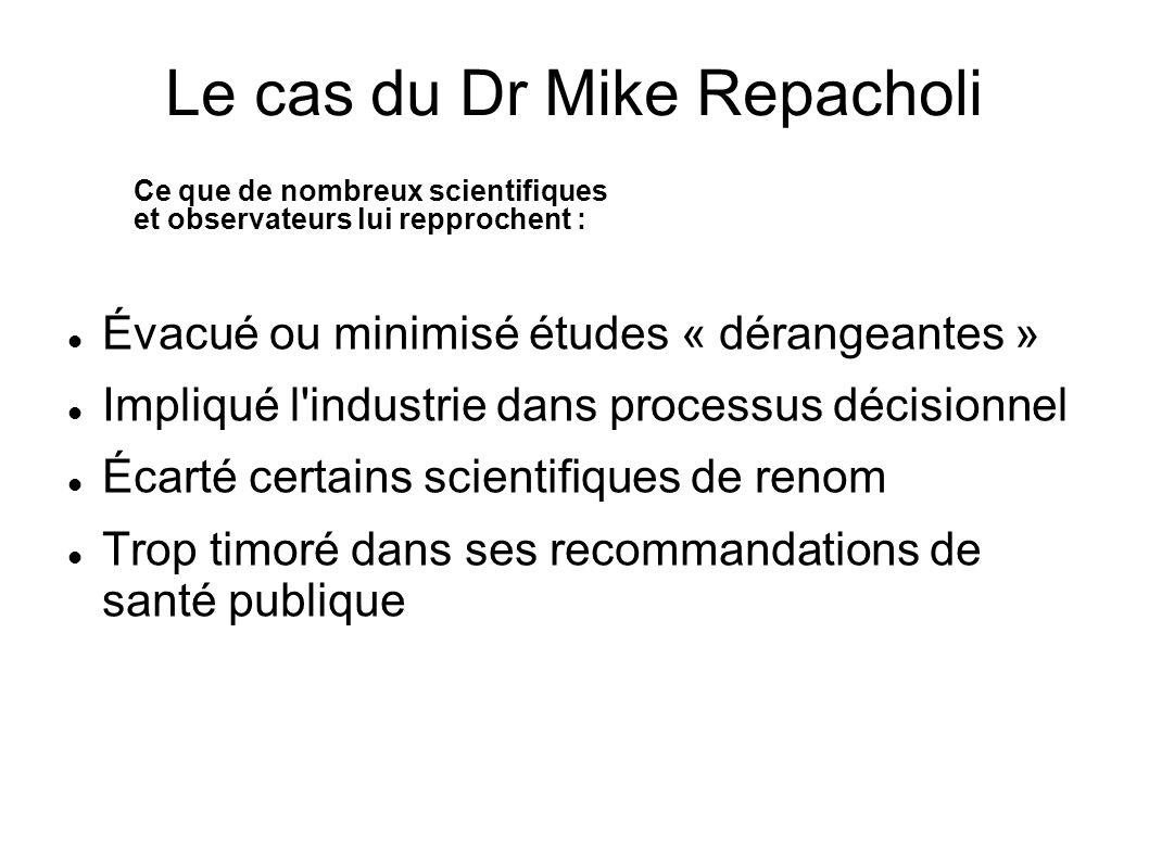 Évacué ou minimisé études « dérangeantes » Impliqué l'industrie dans processus décisionnel Écarté certains scientifiques de renom Trop timoré dans ses