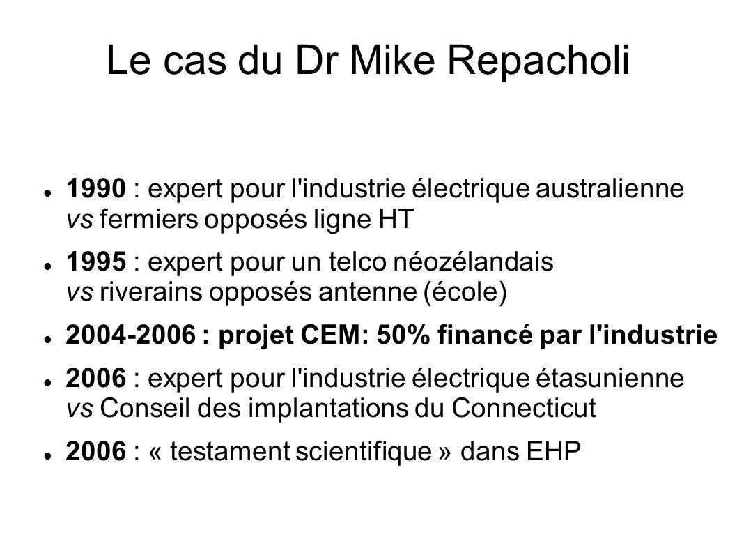 Le cas du Dr Mike Repacholi 1990 : expert pour l'industrie électrique australienne vs fermiers opposés ligne HT 1995 : expert pour un telco néozélanda