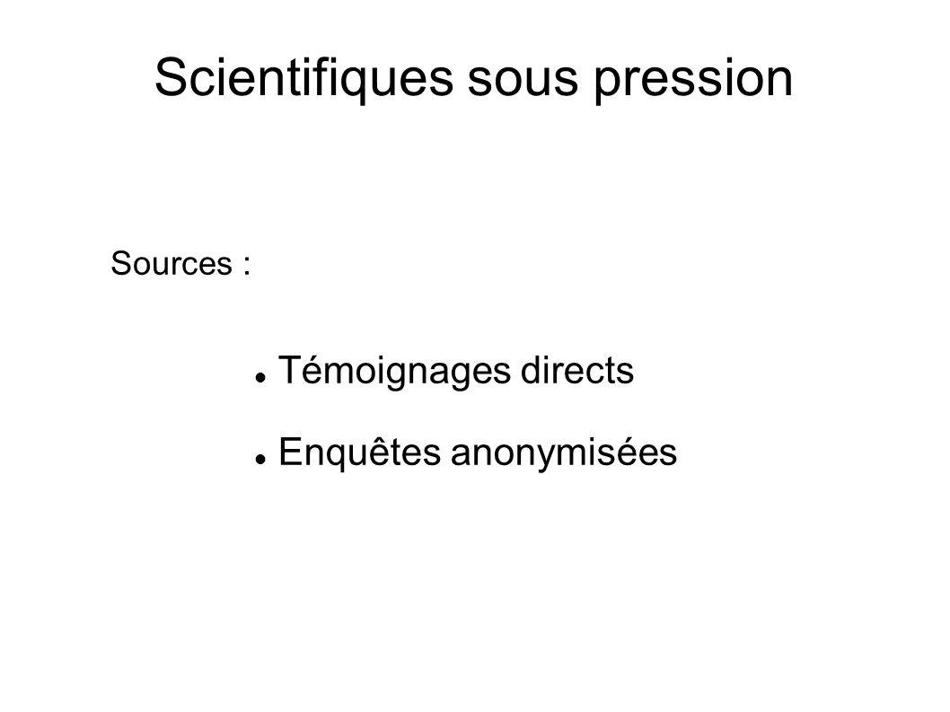 Scientifiques sous pression Témoignages directs Enquêtes anonymisées Sources :