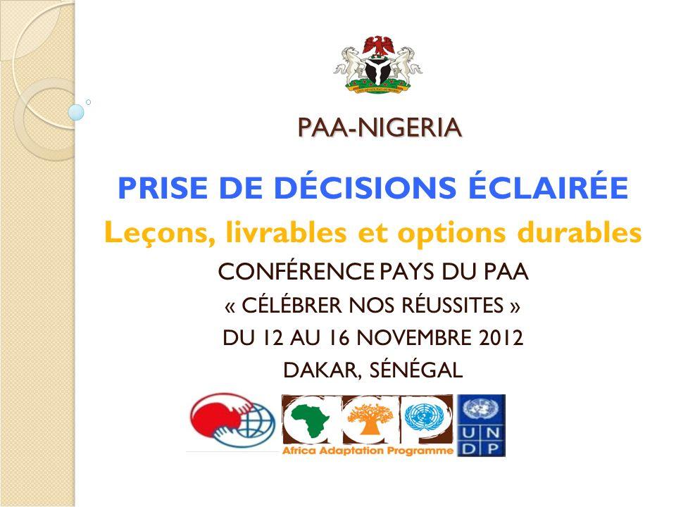 PAA-NIGERIA PRISE DE DÉCISIONS ÉCLAIRÉE Leçons, livrables et options durables CONFÉRENCE PAYS DU PAA « CÉLÉBRER NOS RÉUSSITES » DU 12 AU 16 NOVEMBRE 2