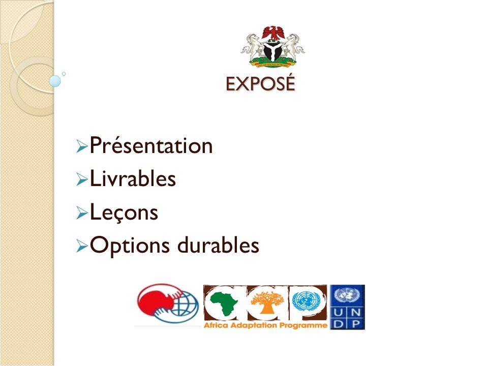 EXPOSÉ Présentation Livrables Leçons Options durables