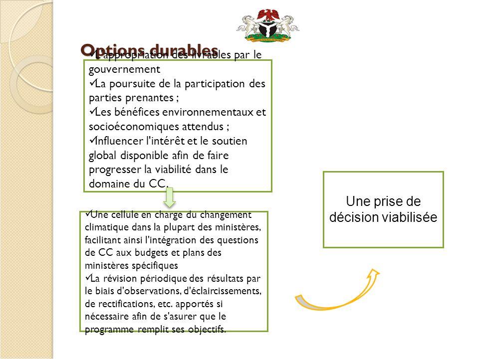 Options durables L'appropriation des livrables par le gouvernement La poursuite de la participation des parties prenantes ; Les bénéfices environnemen