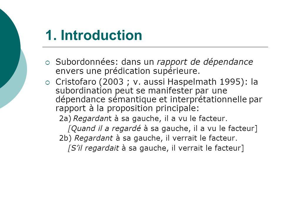 1.Introduction Subordonnées: dans un rapport de dépendance envers une prédication supérieure.