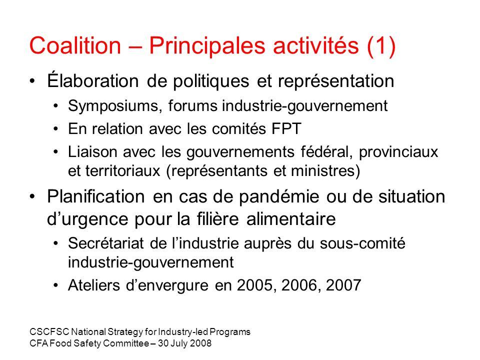 CSCFSC National Strategy for Industry-led Programs CFA Food Safety Committee – 30 July 2008 2007 – Initiatives de lindustrie : à la ferme 19 programmes nationaux SAF, basés sur le HACCP Lélaboration de programmes nationaux est presque terminée.