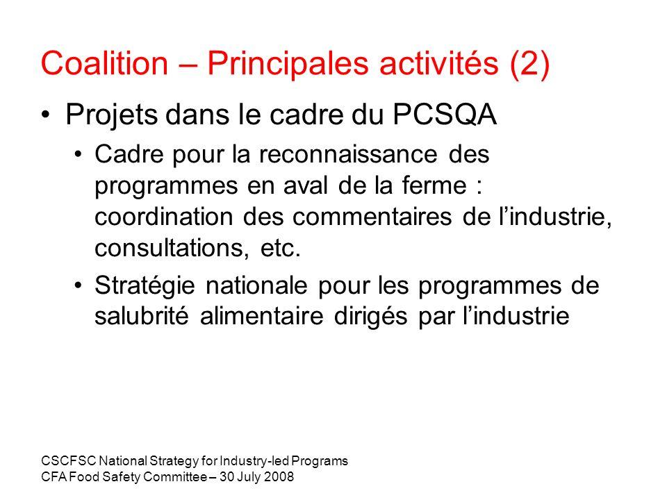 CSCFSC National Strategy for Industry-led Programs CFA Food Safety Committee – 30 July 2008 2007 – Initiatives de lindustrie : en aval et en amont de la ferme Vaste étendue Trois principaux types Basés sur le HACCP, propres aux lieux (ex., PASA/PGQ ou programmes provinciaux «Avantage», ISO 22000, normes privées) Basés sur le HACCP, programmes nationaux Programmes de formation Progrès importants, surtout depuis 2000 La plupart des projets sont en train dêtre mis en oeuvre, certains sont presque prêts.