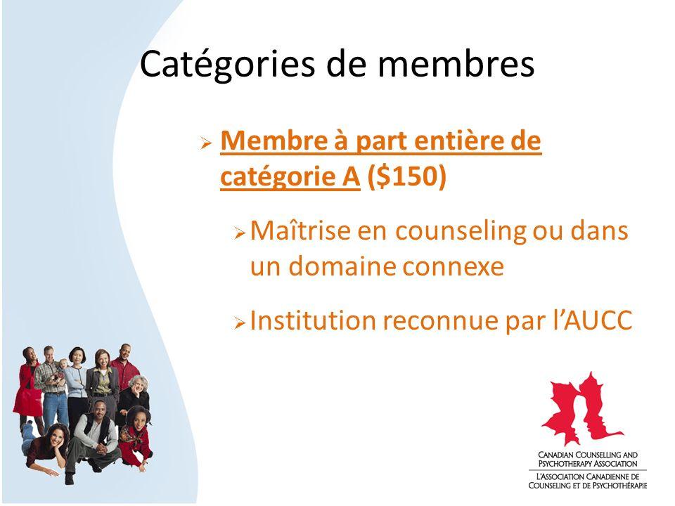 Catégories de membres Membre à part entière de catégorie A ($150) Maîtrise en counseling ou dans un domaine connexe Institution reconnue par lAUCC