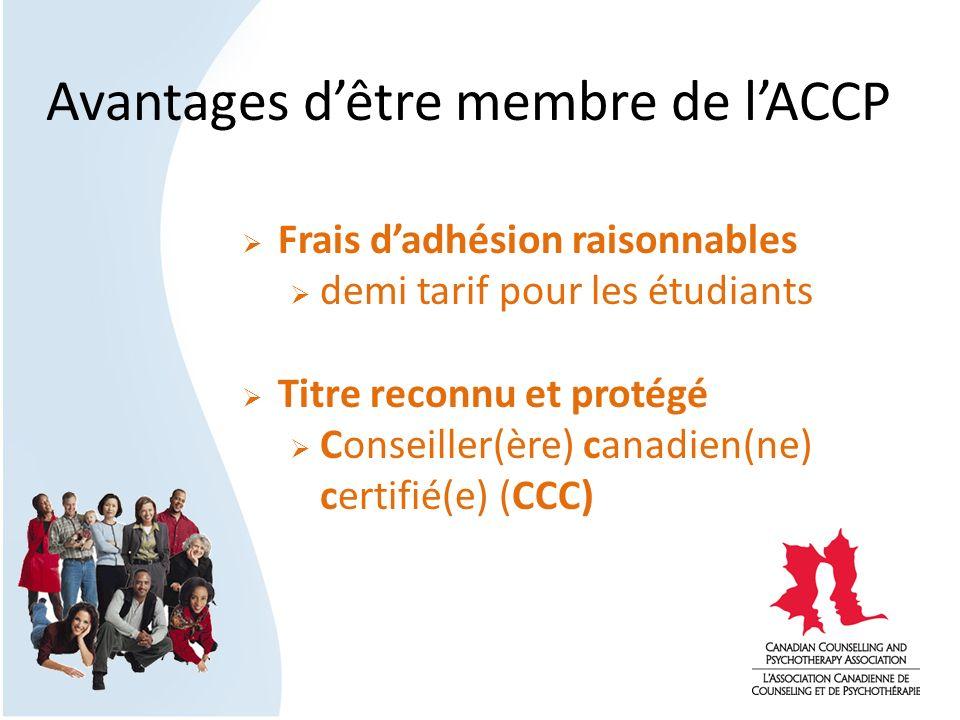 Avantages dêtre membre de lACCP Frais dadhésion raisonnables demi tarif pour les étudiants Titre reconnu et protégé Conseiller(ère) canadien(ne) certi