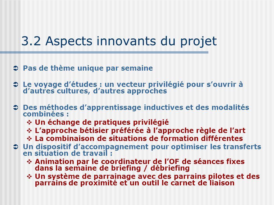 3.2 Aspects innovants du projet Pas de thème unique par semaine Le voyage détudes : un vecteur privilégié pour souvrir à dautres cultures, dautres app