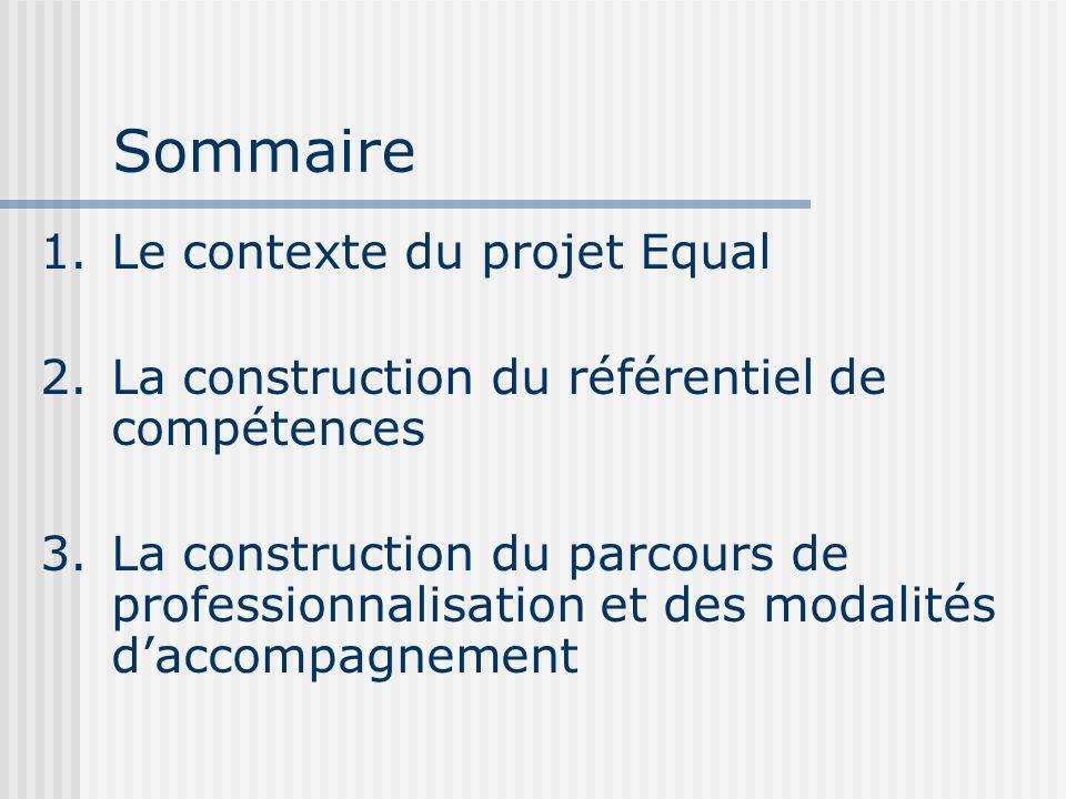 Sommaire 1.Le contexte du projet Equal 2.La construction du référentiel de compétences 3.La construction du parcours de professionnalisation et des mo