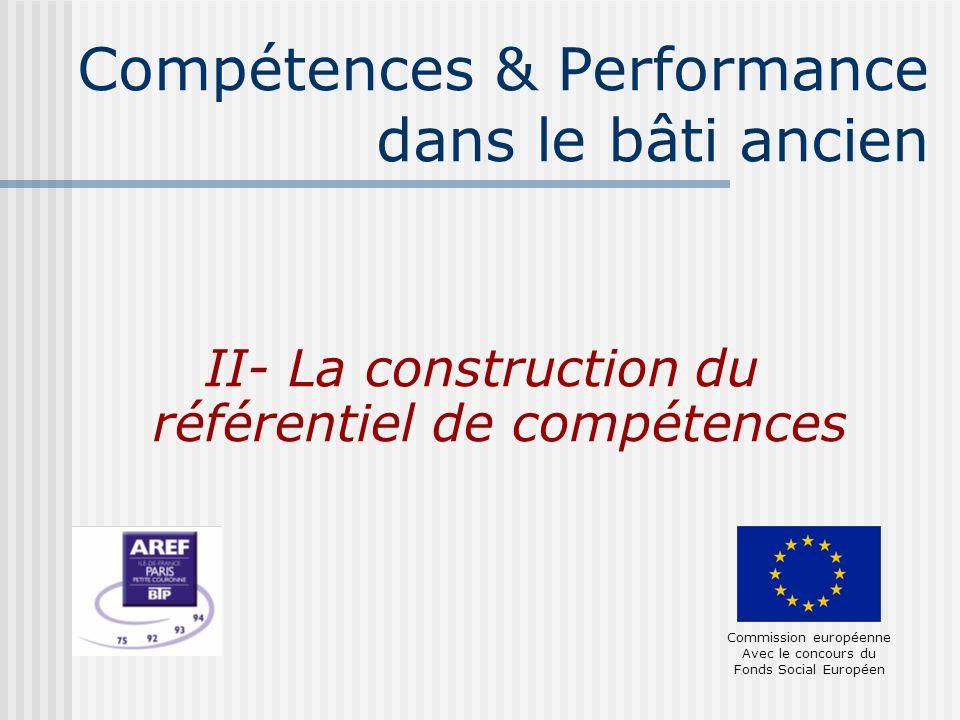 Compétences & Performance dans le bâti ancien II- La construction du référentiel de compétences Commission européenne Avec le concours du Fonds Social