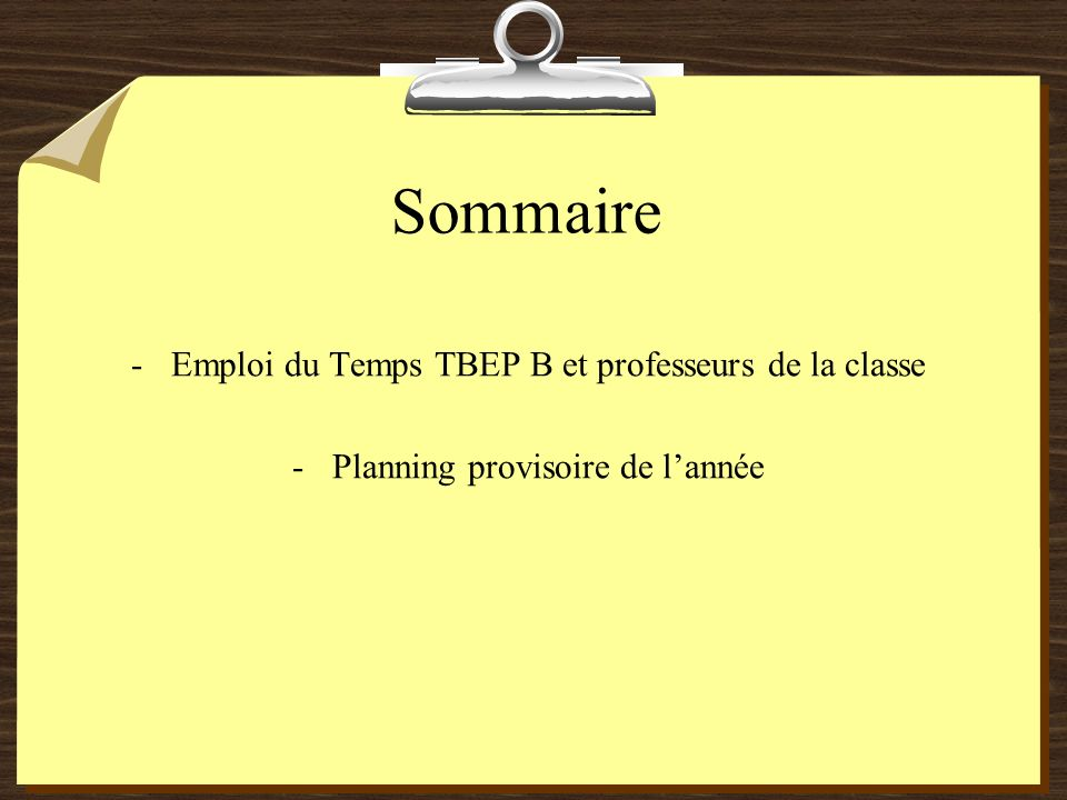 Sommaire -Emploi du Temps TBEP B et professeurs de la classe -Planning provisoire de lannée