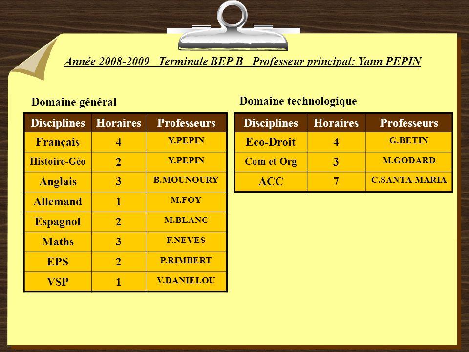 Année 2008-2009Terminale BEP BProfesseur principal: Yann PEPIN Domaine général DisciplinesHorairesProfesseurs Français4 Y.PEPIN Histoire-Géo 2 Y.PEPIN