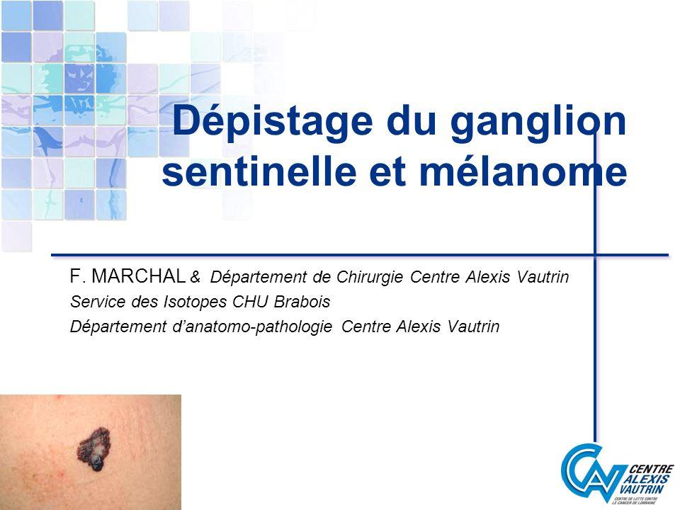 ETUDE HISTOLOGIQUE Immunohistochimie augmente le taux de détection de 10% AC utilisés: antiprotéine S100 et HMB 45 1 cellule anormale parmi 100 000 cellules normales biologie moléculaire Technique damplification RT-PCR de lARN messager de la tyrosinase Détecte 1 cellule anormale parmi 3 10 6 cellules normales Mais identifie aussi les cellules de Schwann et les cellules naeviques présentes dans le ganglion Rôle restant à établir HJ Blaheta J Invest Dermatol 2000;114:637-42